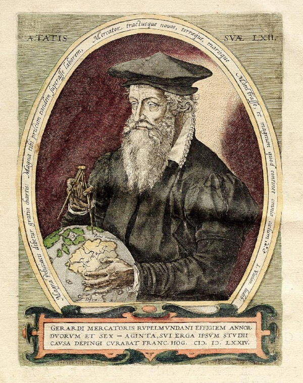 GERARDUS MERCATOR - 16th-century German-Flemish cartographer, geographer and cosmographer. He was renowned for creating the 1569 world map based on a new projection which represented sailing courses of constant bearing (rhumb lines) as straight lines—an innovation that is still employed in nautical charts.