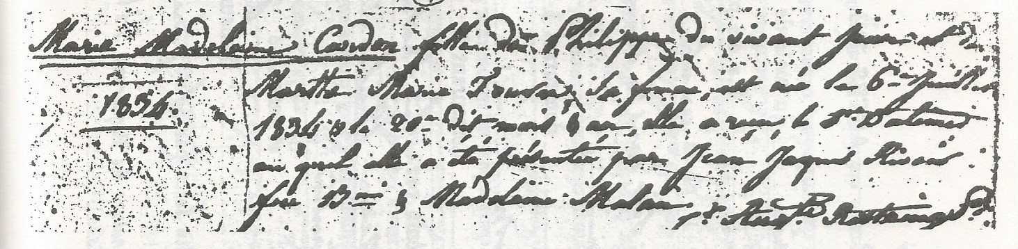 Birth record of Marie Madelaine Cardon