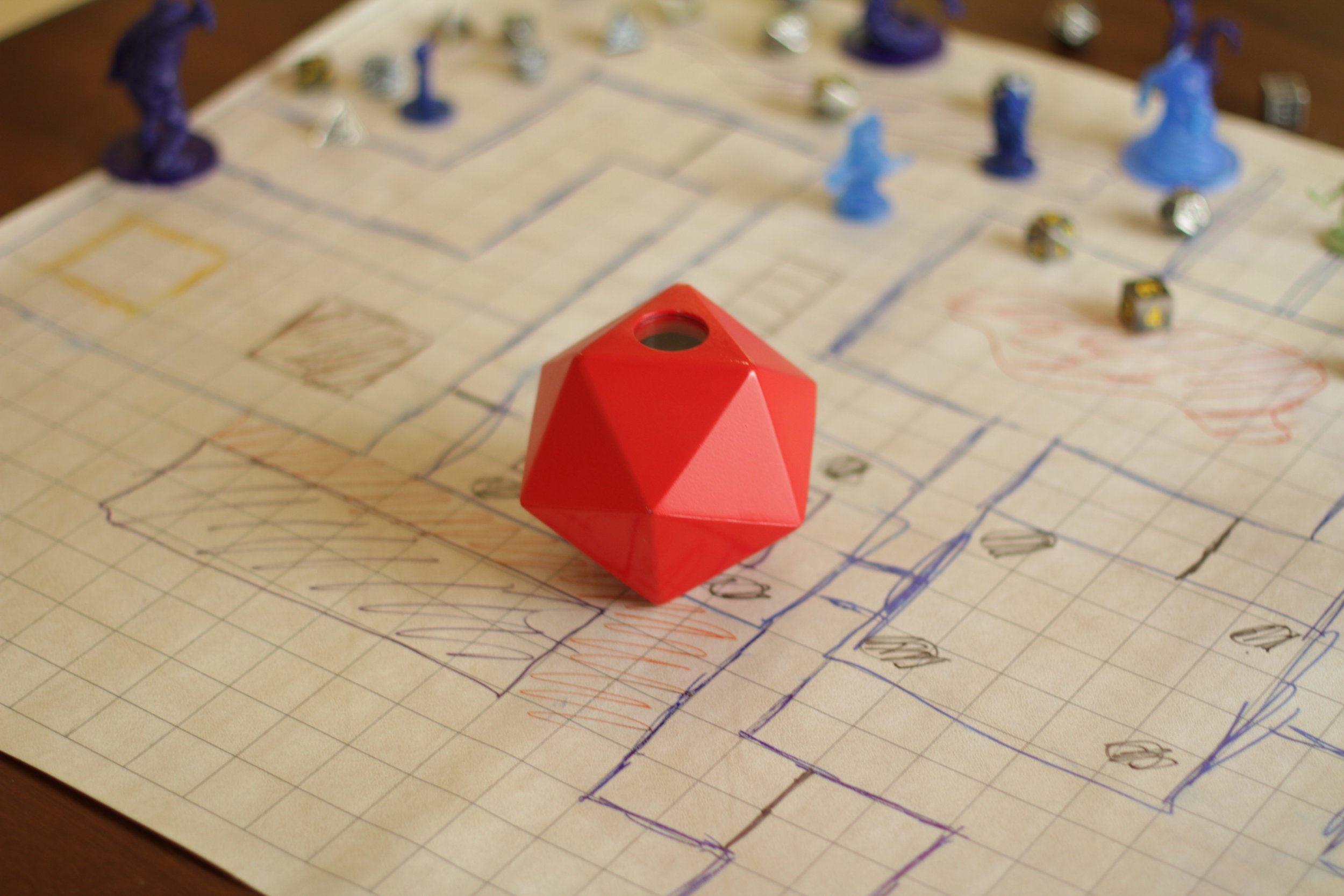 Designed an electronic dice rolling toy for use in table top role playing games.