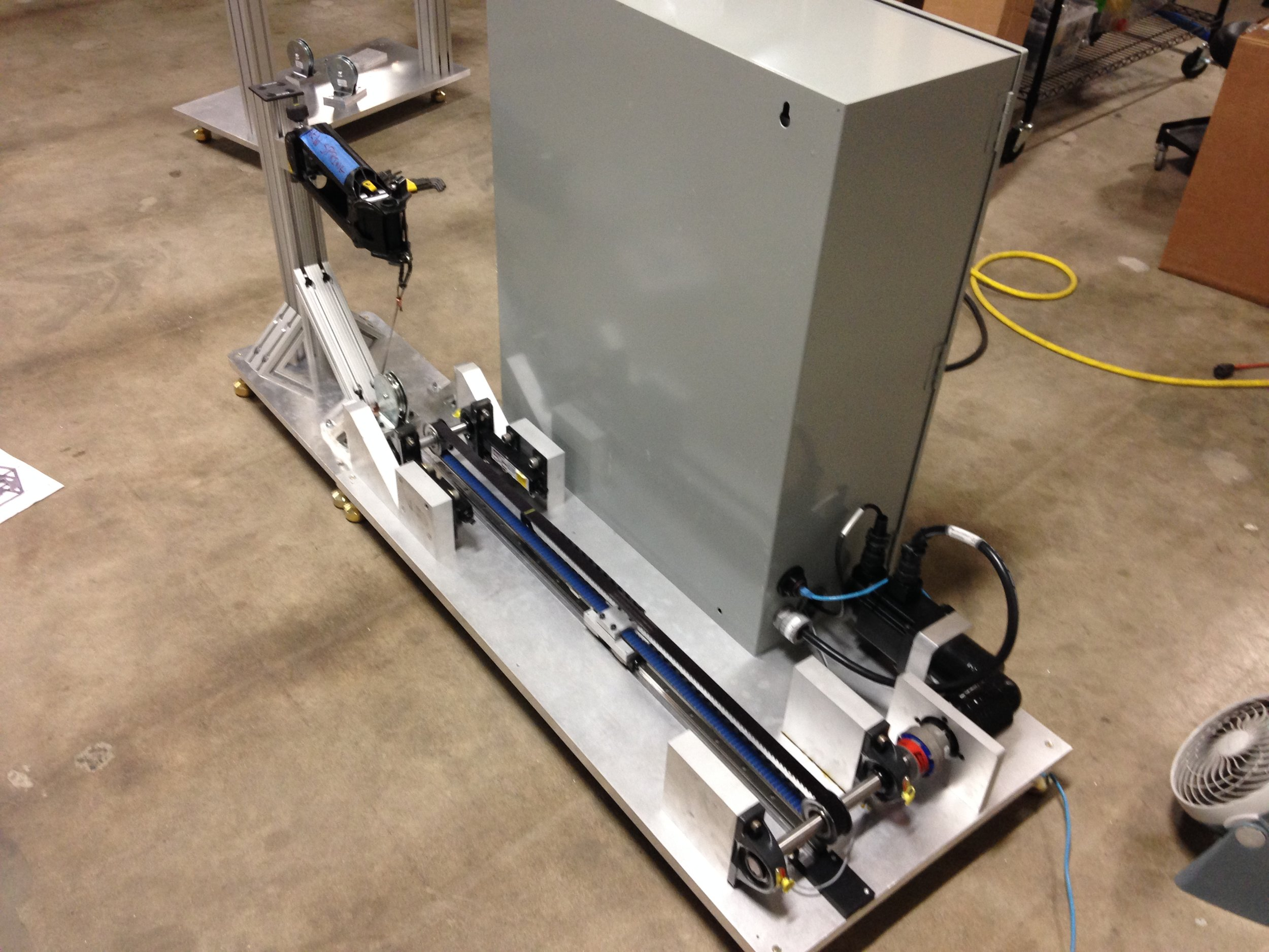 Designed an automated modular testing system to measure load degradation for a spring loaded gravity balance product