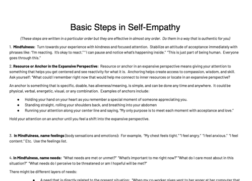 - Basic Steps in Self Empathy