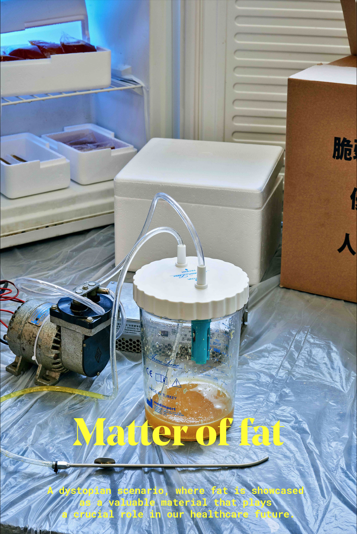 Matter of Fat is a dystopian scenario, where fat is extracted for its monetary and medical qualities. Indeed, it contains stem cells which can be grown into any kind of organs and costs on average $125 per gram. Current BioBank already proposes storage of stem cells for a lot of money. How could lower income families get access to this future and promising medical care? Inspired by the liposuction technique, a DIY extraction finds a place in modest interiors. This underground system allows fat to be treated and cryopreserved. My project relates the manner how an opportunist and ambitious person - half-medic and half-dealer - create a service for the most modest households.