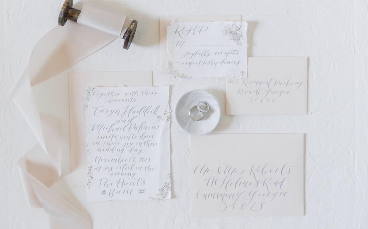 handwritten invitation suite