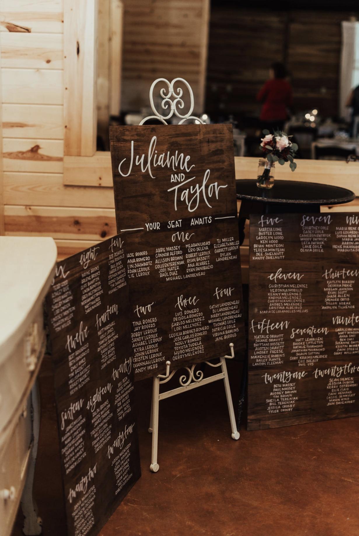 Custom wedding signage seating chart