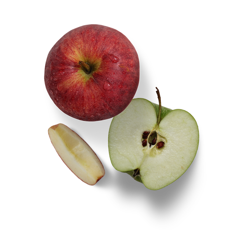 Apples - + Great source of Vitamin A & B+ High source of Fiber+ Gastrointestinal Benefits