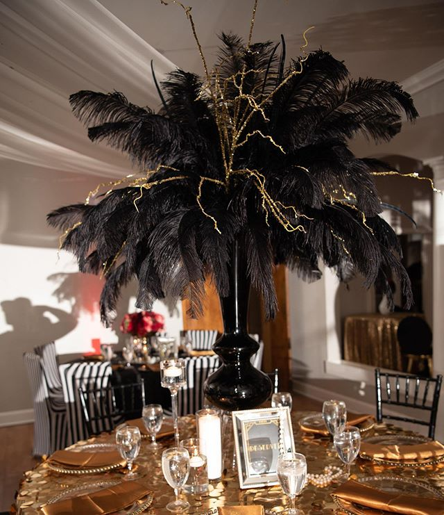 Nothing says art deco like black and gold accessories. Did you know that the colors in Art Deco are striking and bold with a lot of contrasts? Bright and deep yellows, reds, greens, blues, and pinks mix well with silver, black, and chrome. We love the extreme contrast of our gold and black centerpiece. These two color combinations add a pop to the vibrant color palette of our reception design.  #greatgrace2019  Planning Design, Decor Uplights & Florals: @uniqueroseevents @angelicaunique  Day of Coordinator: @soireesbylee  Dancing on a Cloud (Fog) & Cake Spotlight: @uplightyourevent  DJ: @djerok_mc  Cake: @cakesbylameeka  Venue: @chale_gardens . . . . . . . . #imgettingmarried#soontobemrs#gettinghitched#tyingtheknot #weddingflow#blackbride#munaluchi#weddingvibes#herecomesthebride#bridestobe#bride2be#bridalinspo #bride2019#atlantabrides #atlevents#wedding2019 #bridegoals #coolbride#futurebride #weddingsonpoint#aisleperfect #thedailywedding#iloveweddings #sayido#weregettingmarried #blushingbride#herecomesthebride #soontobemrs#weddingdiary