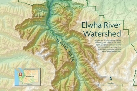 Elwha River WATERSHED Map - We used several GIS software packages to create a cartographic representation of the regions surrounding the Elwha River for display at the Burke Museum of Natural History and Culture.