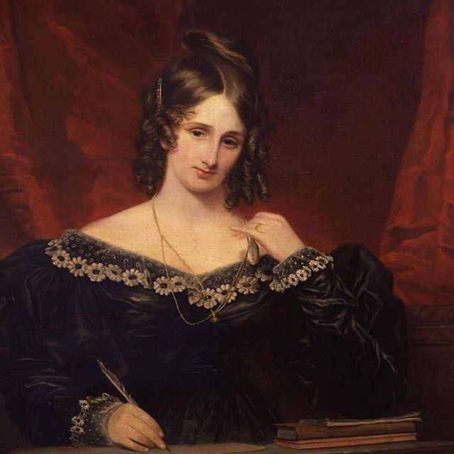 "Episode 81, witches! This week, let @hannahfergesen and @msdeannaelise regale you with the story of the OG goth: Mary Shelley!  Come on, you've all heard of her! All you really need to know about this bad bitch was that she was a freaking genius. Daughter of liberal feminists, self-taught reader and writer, partner of ""free love"" enthusiast Percy Shelley, and, of course, author of the magnificent FRANKENSTEIN, a gorgeously written, creepy, spooky, gothic af story about a sinister doctor and his monster. She lost her virginity in a graveyard, kept locks of her deceased children's hair, and when she died they discovered the remains of her husband's heart tucked into her dresser drawer. Her life was full of drama and she was intense as hell, and her legacy lives on in FRANKENSTEIN. • • #gwbbpodcast #gwbb #goodwitches #badbitches #feminist #feminism #podcast #womenwhopodcast #history #halloween #spooky #writer #femalewriters #goth #gothgirl #maryshelley #frankenstein #wcw #witchywednesday #spookinseason"