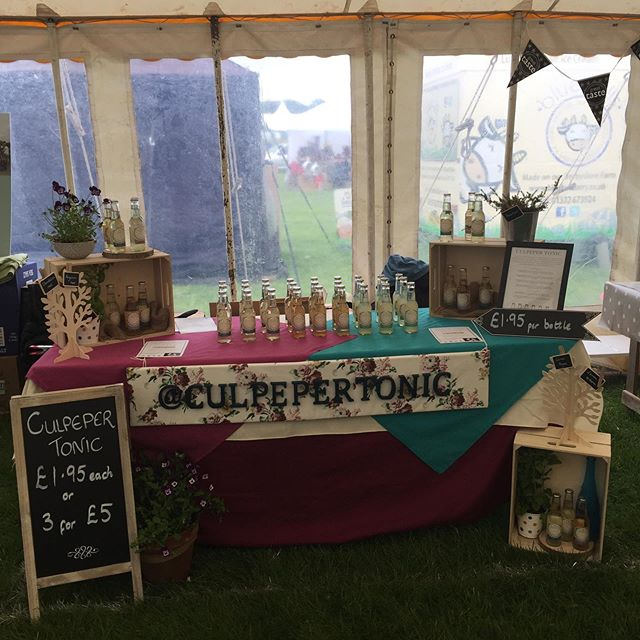 Stall set up and ready to go 🙂Looking forward to this weekend's @derbyshire_food_and_drink_fair. Come and visit us in the Producers' marquee. #gin #ginandtonic #tonicwater