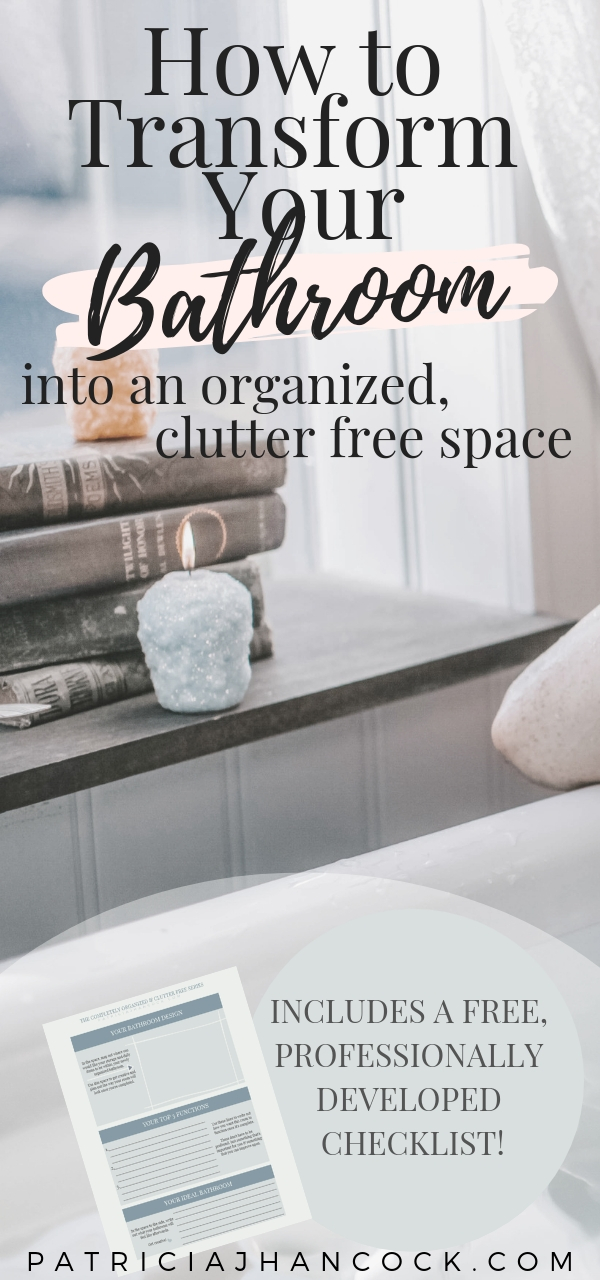 Learn how to completely organize and declutter your home with this in-depth room by room series. These tips and tricks have been thoroughly tested & are used by professionals to keep their house spotless and functional. In this article, your bathroom will be perfected with these simple, easy steps. Includes a printable worksheet! #organization #home #declutter #organizemyhome #clutterfree