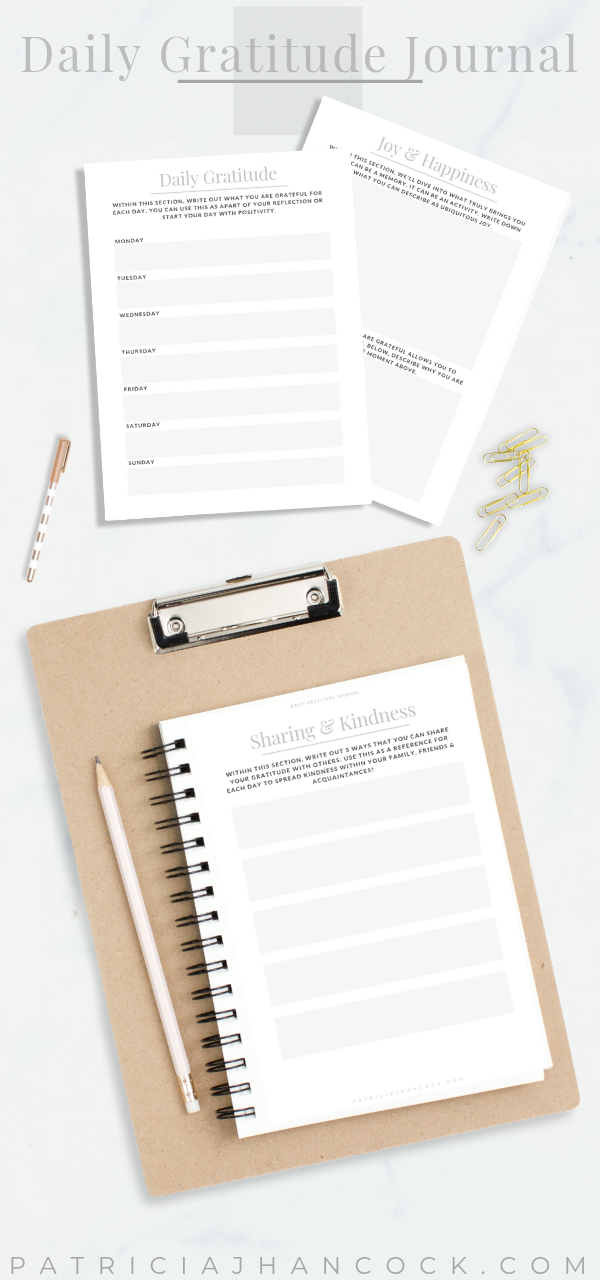 Within the Daily Gratitude journal, you set yourself up for true goodness and kindness in your everyday life. These exercises will help to boost your mood, build your confidence, and inspire self love through mindfulness and gratitude. #mindfulness #gratitude #journal #printable