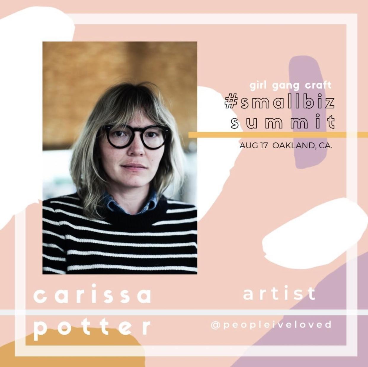 CARISSA POTTER: - KEY NOTE ADDRESSARTIST | FOUNDER OF @peopleiveloved