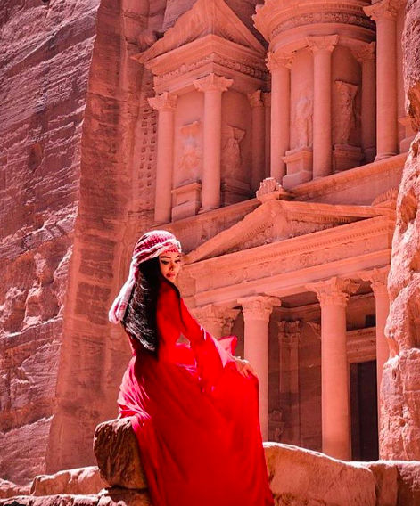 In Jordan with a beautiful red dress!