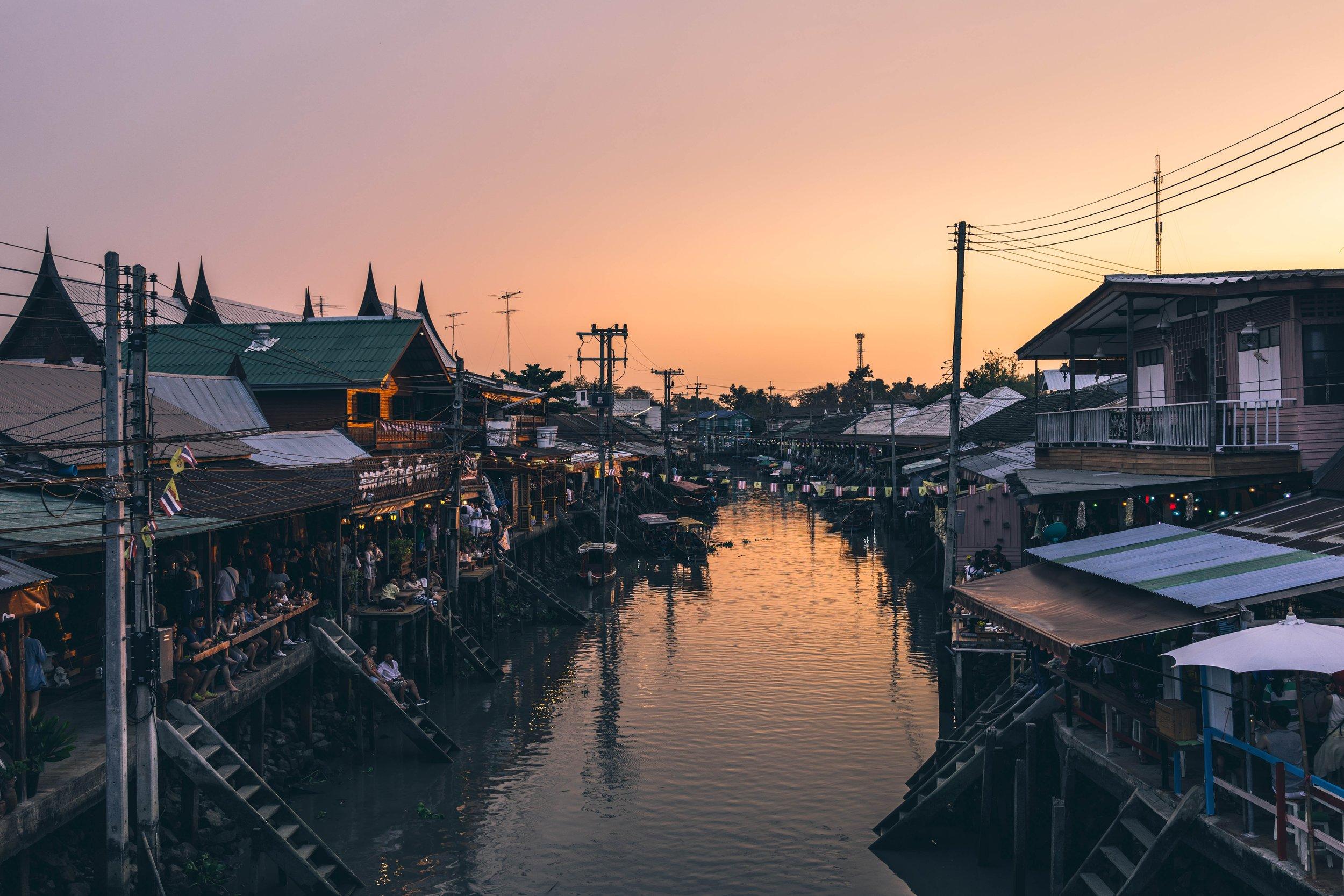 Photo of the Amphawa Floating Market near Bangkok, Thailand. Photo from Unsplash.