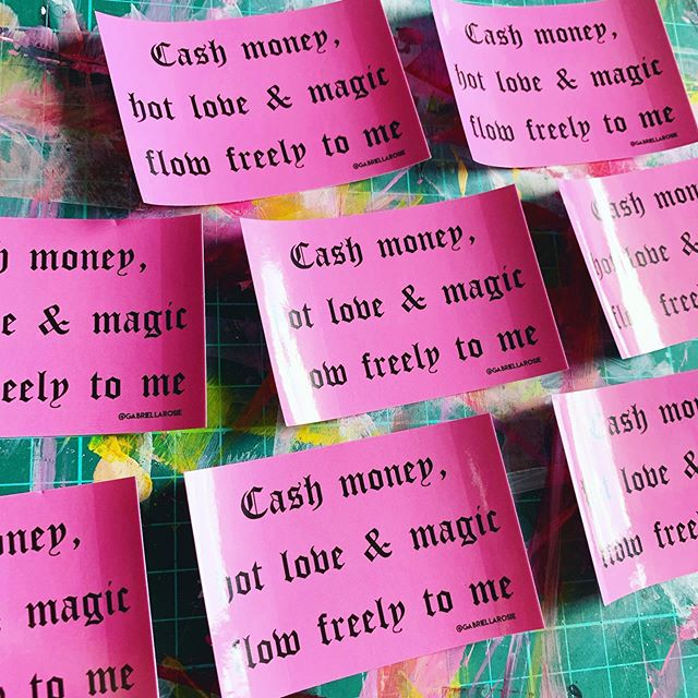 Affirmations, but as perpetual reminders plastered across notebooks, laptops, and bumper stickers around the world. 💸💗⚡️ #badbitchaffirmations