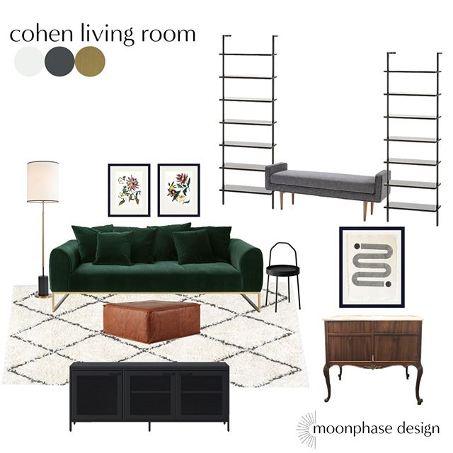 it's #moodboardmonday again! this living space for my friend Julie was so fun to do. we both fell in love with that luxe green sofa from @article and got to integrate some existing pieces into the design. it was such an honor to help create a space that will be loved and lived in for years to come.
