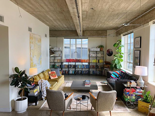 progress update at the brown bldg loft! she's a beaut y'all. we've got rugs, we've got bookshelves, we've got plants! sources are tagged as best as I can but if you're curious about something specific drop a comment below! xoxo