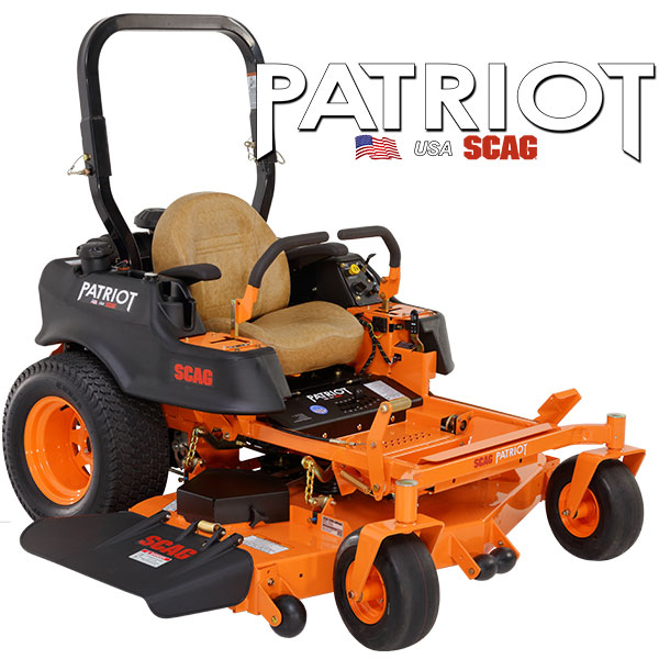 """PATRIOT Z    SIZES:  52"""" / 61''  This impressive zero-turn rider is designed with the needs of lawn care pros in mind. Delivering commercial-grade results at an incredible value, the Patriot will exceed your expectations and have your """"competition"""" talking. Its strong hydro drive system brings the power and keeps you moving at ground speeds of up to 10 mph (SPZ61), while large front caster tires and extra-large drive tires provide dependable traction, stability and a smooth ride.    WATCH VIDEO"""
