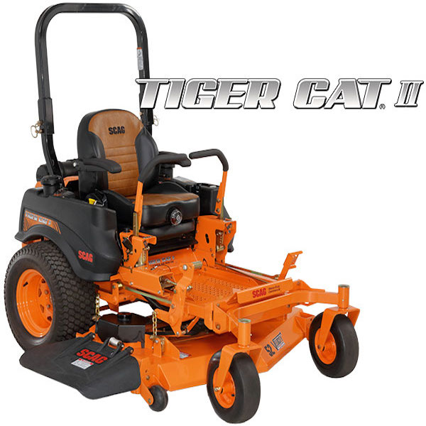 """TIGER CAT II    SIZES:  48"""" / 52"""" / 61''  With roaring power and agile maneuverability, the compact Scag Tiger Cat II is a force all its own. Where productivity is essential, the Tiger Cat II delivers with ease, capable of handling more than 24 acres per day. Powerful engines and a tough dual pump and wheel motor drive system ensure dependability year after year. Equipped with a Velocity Plus cutter deck, this mower will tame the tallest grass and leave it looking smooth and professionally manicured.    WATCH VIDEO"""