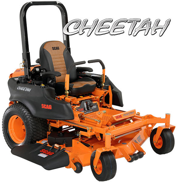 """CHEETAH    SIZES:  48"""" / 52"""" / 61'' / 72""""  Clocking in at speeds up to 10.5 mph and featuring a coil-over shock suspension system, the Cheetah is truly a remarkable zero-turn mower. The Operator Suspension System isolates the operator platform via a coil-over shock and provides additional comfort via rubber iso-mounts. This innovative, adjustable system soaks up the bumps and keeps things simple with only three moving parts. The ZT-3400 transaxles are built to last and deliver smooth and positive drive performance. The large 10 gallon fuel capacity (dual tanks) keeps you in the field cutting grass. Fill up in the morning and cut all day long.    WATCH VIDEO"""