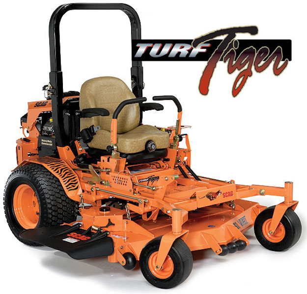 """TURF TIGER II    SIZES:  52"""" / 61'' / 72""""  The all-new Turf Tiger II stands heads and tails above the crowd in power, durability and performance. This industry benchmark has been re-engineered to be as easy on the operator as it is efficient on tough jobs in the field. No matter how challenging the terrain and cutting conditions, the Turf Tiger II makes mowing a snap. From the heavy-duty, Tri-Plate Velocity Plus cutter decks to its extra strength double-tube steel frame to the dual 16cc hydraulic pumps and high-torque wheel motors, this cat is ready for action. The Turf Tiger II features the exclusive Command-Comfort Operator Station with adjustable 4-point iso-mounted suspension seat and Quick-Fit adjustable steering control levers to make your time spent in the driver's seat more comfortable and more productive. With speeds up to 12 mph, huge-horsepower, fuel efficient engine options like the fuel injected   Kawasaki or Kohler   EFI, massive 37hp   Big   Block   EFI models, or Kubota   Diesel   models, there's a Tiger II that will increase your productivity and send your competition running for cover! A larger capacity fuel tank and a heavy-duty hydraulic oil cooler, the Turf Tiger II is geared up to take the """"hard"""" out of hard work.    WATCH VIDEO"""
