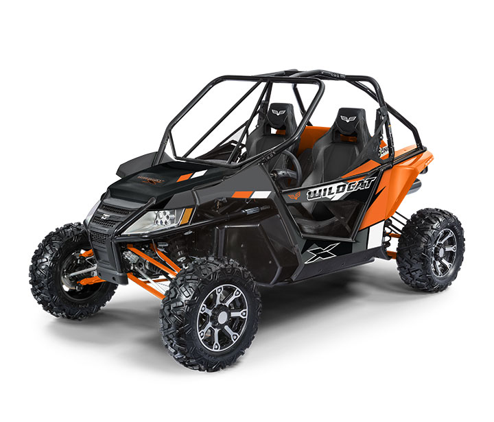 WILDCAT X / 2-PASSENGER ($15,999)   Double A-Arm Front Suspension with JRi EXC-1 Shocks®  >>  5-Link Rear Suspension  >>  951cc Dual-Cylinder, Closed-Loop EFI Engine  >>  Electronic 2/4WD with Front Differential Lock  >>  Standard Half Doors   WATCH THE     VIDEO