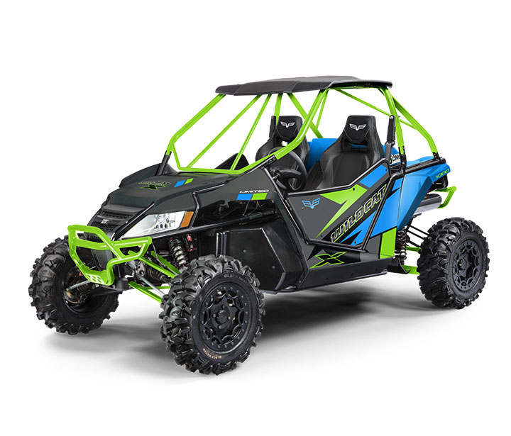 WILDCAT X LTD / 2-PASSENGER ($17,499)   Double A-Arm Front Suspension with Elka® Stage 5 Shocks >> 5-Link Rear Suspension >> 951cc Dual-Cylinder, Closed-Loop EFI Engine >> Electronic 2/4WD with Front Differential Lock >> ITP® Blackwater Evolution® Tires >> Aluminum Beadlock Wheels >> Standard Full Doors   WATCH THE VIDEO