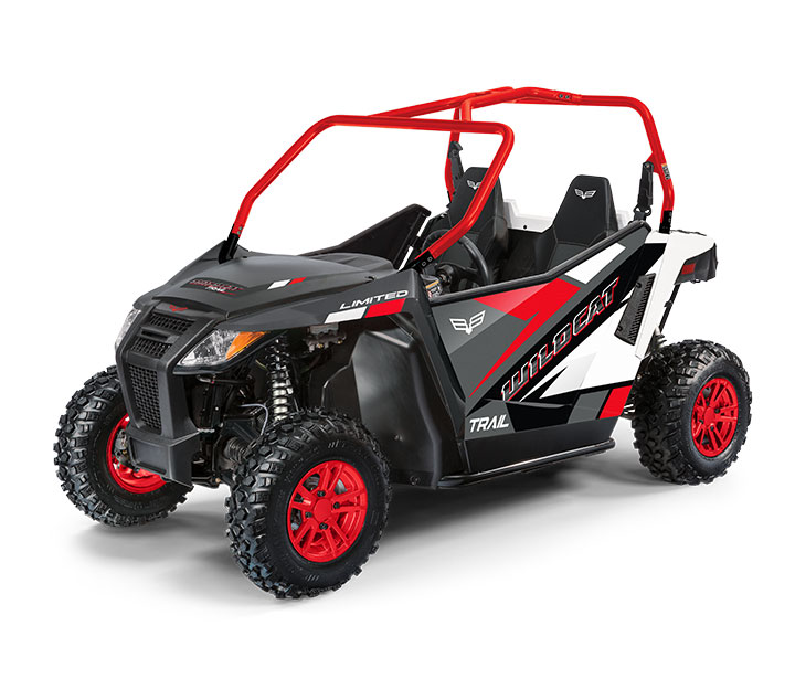 WILDCAT TRAIL LTD / 2-PASSENGER ($13,499)   50-inch Width for Class I Trail Access  >>  700cc Twin-Cylinder, Closed-Loop EFI Engine  >>  Infinitely Adjustable Steering  >>  FOX® Shock Double A-Arm Suspension  >>  Electronic Power Steering  >>  Standard Full Doors    WATCH THE VIDEO