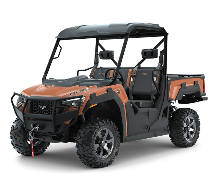 PROWLER PRO RANCH EDITION / 3-PASSENGER ($15,699)   27-inch Maxxis Bighorn Tires  >>  Premium Seats  >>  Standard Roof  >>  4,500-lb WARN Winch  >>  Front Brushguard  >>  Rear Bumper  >>  3-Passenger Bench Seating  >>  Whisper-Quiet 50HP EFI Gas Engine with 812cc  >>  Noise and Vibration Eliminating Frame  >>  10-inch Front and 9.5-inch Rear Suspension Travel  >>  Electronic Power Steering (EPS) >> 812cc Liquid-Cooled 3 Cylinder EFI Engine  >>  2,000-lb Towing Capacity    WATCH THE VIDEO    or    TAKE A LOOK AT THE FEATURES