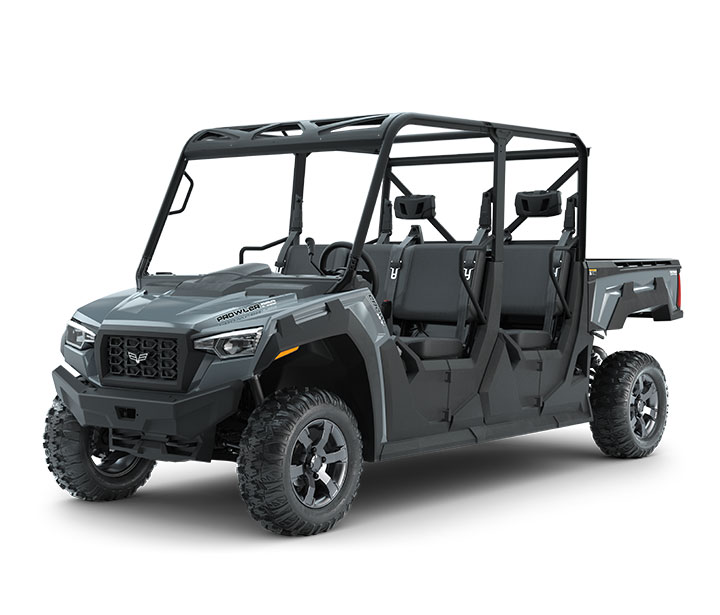 PROWLER PRO CREW XT / 6-PASSENGER ($14,799)   6-Passenger Bench Seating  >>  Whisper-Quiet 50HP EFI Gas Engine with 812cc  >>  Vibration-Reducing Frame  >>  Electronic Power Steering (EPS)  >>  Aluminum Wheels  >>  Pro-Terrain 26x10-14 Front and Rear Tires  >>  10-inch Front and 9.5-inch Rear Travel  >>  10.75-inch Ground Clearance  >>  2,000-lb Towing Capacity  >>  1,500-lb Payload Capacity  >>  1,000-lb Capacity Cargo Box with Tilt  >>  17.95 cu-ft of Storage  >>  Electronically Selectable 4WD  >>  Selectable Locking Rear Differential    WATCH THE VIDEO    or    TAKE A LOOK AT THE FEATURES