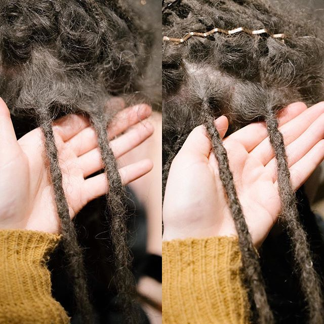 Before + after root maintenance on Jen's dreads. She's so good about coming in regularly, which contributes to a healthy scalp.   #siouxfalls #visitsiouxfalls #weareheresiouxfalls #dreadlocks #dreadlockstyle #siouxfallsdreadlocks #southdakota #southdakotadreadlocks #dreadstagram #girlswithdreads #guyswithdreads #dreadmaintenance #dreadlockmaintenance