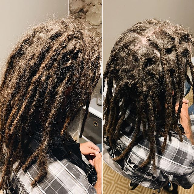 I've been quiet on Instagram lately because I'm too busy enjoying summer to keep up with social media. 😊 But I'm still here, dreading away! Here's today's before and after of Eric's maintenance 1 month after getting his brand new locs installed.  I've continued to have a lot of messages about taking on new clients but I'm still not doing so for the time being. I'll update when I have some availability for new clients.