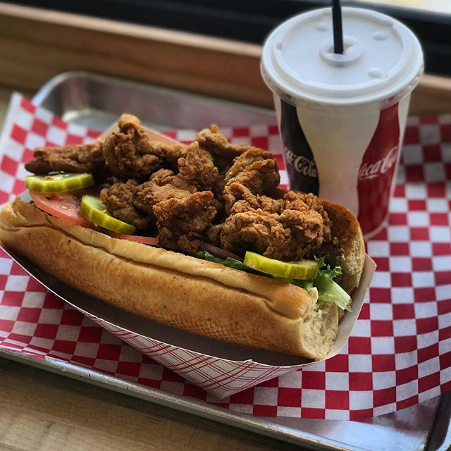 It's a Popcorn Chicken Po-boy. It's a special. It's available for delivery or in-house orders. It's delicious.