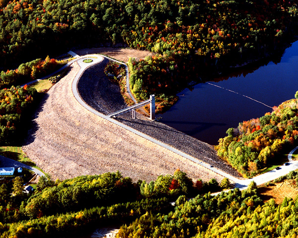 The Otter Brook flood control dam, Roxbury, New Hampshire.