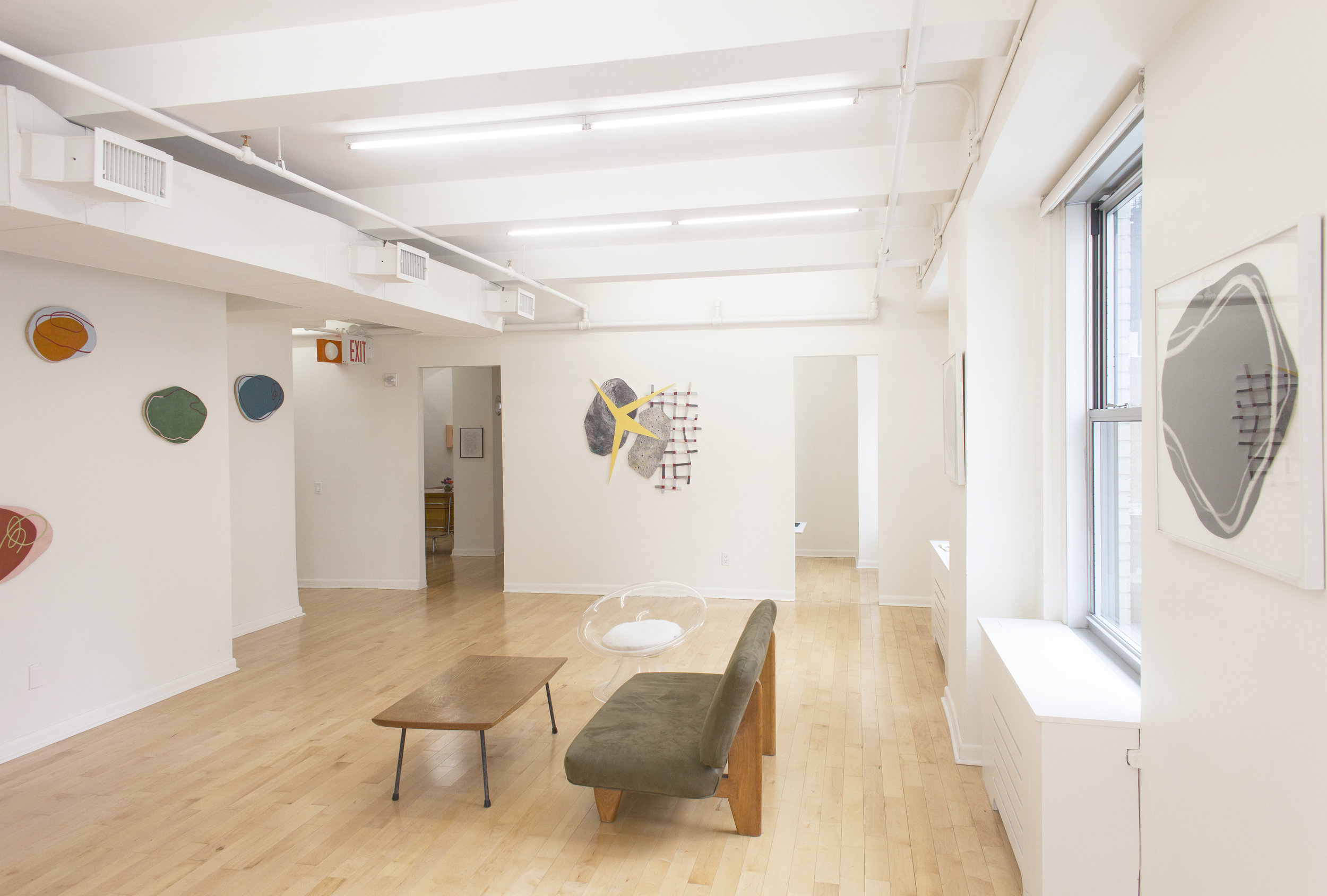 """Installation view: """"Hermine Ford: 8 Paintings, 2 Drawings, 1995-2017"""" at 57W57Arts"""