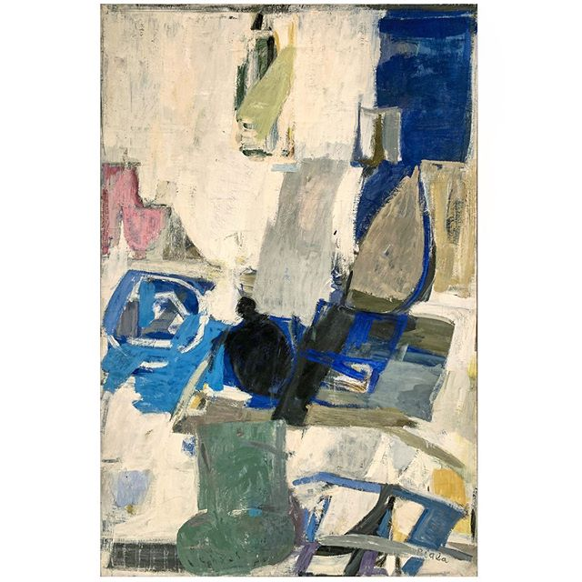 "#janicebiala ""White Interior with Black Kettle,"" 1961, Oil on canvas, 76 3/4 x 51 in. (194.9 x 132.1 cm) Collection of the Estate of Janice Biala   When the #BrooklynMuseum opened an exhibition of French painting in the spring of 1921, Janice discovered for the first time the works of Cézanne and Matisse. The exhibition included fourteen canvases by Cézanne and twelve by Matisse. It was a lasting and profound experience, after which both Biala and her older brother Jack Tworkov decided to dedicate their lives to becoming artists. Jack said he ""never forgot the impact of Cézanne, whose 'anxieties and difficulties' came to mean more to him than Matisse's liberty and sophistication."" Janice on the other hand, though drawn to Cézanne's structured compositions, would come to assimilate Matisse's color and sensibility, writing upon the death of the artist that she ""always had Matisse in my belly."" In this painting we see Biala's perfect assimilation of both the School of Paris and the New York School of Abstract Expressionism.   #AmericanInParis #interior #kettle #cézanne #jacktworkov #matisse #schoolofparis #abstractexpressionism #womenpainter #ladypainter @jacktworkov"