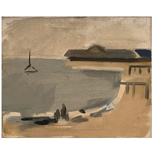 """Port a Provincetown,"" c.1985, Oil on canvas, 8 1/2 x 10 1/2 in. (21.6 x 26.7 cm) Collection of the Estate of Janice Biala, New York   The sea and the dunes of Provincetown and the Cape may have been miles away as Biala lived and thrived in Paris, but they were only a step and a brush away when she was in her studio. Often she worked on compositions from photographs and returned time and again to particular compositions. This little painting, in the collection of the Estate, has the feel of a quick study captured from fleeting memories.   #janicebiala #biala #provincetown #provincetownsummers #ptown #provincetownbay #americaninparis"