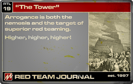 "RTJ Red Teaming ""Law"" 19 (""The Tower""). Text available at link."