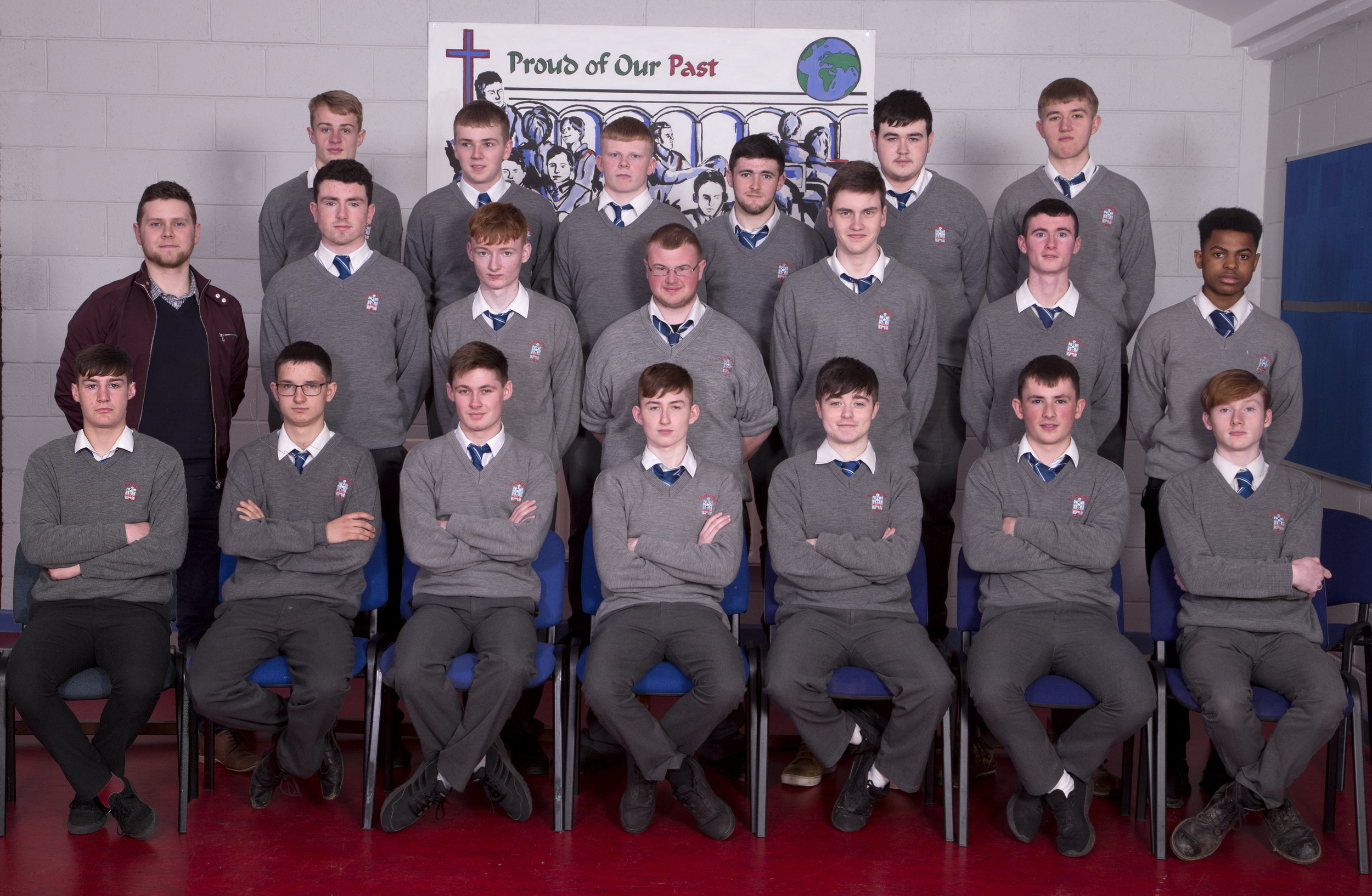 6.2 2018 Class   Back row: Shane Hickey, Camon Balfe, Jayme Hatch Hyde, Adam Smith, Ciaran Breen, Oskar Juszczyk.  Middle row: Mr O Brien, Ciarán McCann, Cian Flood, Adam McCann, Cathal Laverty, Matthew Askins, Hawal Badru.  Front row: Ryan Walsh, Raivo Lebedevs, Jack McCullough, Billy Gibney, Ciaran Harmon, Evan Morgan, David Delaney.