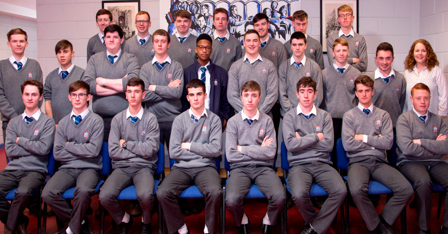 6.1 2017 Class   Front Row: Scott Murphy, Peter Murphy, Ryan Levins, Eoghan Gaynor, Evan Kelly, Eoghan Callaghan, Liam Ryan, Adam Byrne. Absent – James Patrick Moore, Prince Esanbor.  Middle Row: Louis Flanagan, Ryan Collier, Dylan McCabe, Rhys Gaynor, Seun Akinbola, Luke Mitchell, Liam McNeill, Kealan O'Neill, Alan Mc Grane, Ms A Flood, Form Tutor 6.1  Back Row: John Holdcroft, Jack Reilly, Matt Deegan, Mark McGuffin, Emmet Connor, Daniel Murphy, Aaron Grimes.