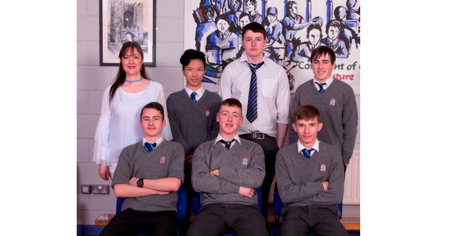 LCA 2017 Class   Front Row: Cian Connolly-Coyle, Cian Carter, Scott O'Neill.  Back Row: Ms Wynne – LCA Coordinator, Ben Hai Tu, Ethan Holgate, Thomas Finnegan.