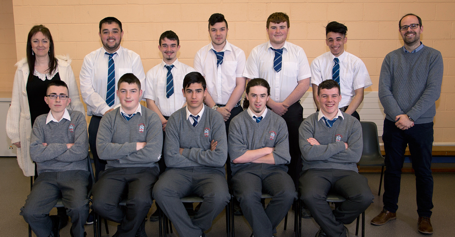LCA 2016 Class   Front Row: Andrew Hanratty, Ryan Gorman, Guy Kenny, Jake Fleming, Luke Dreeling  Back Row: Ms. Wynne (LCA co-ordinator), Shane Moore, Aaron Kenna, Adam Howe, Grant Mannion, Brano Oracko, Mr Kington (Art Teacher)