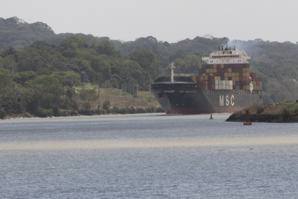 A ship passes through the Panama Canal