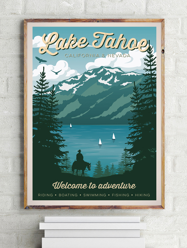 lake tahoe vintage travel poster california art print