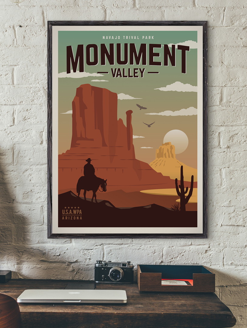 monument valley vintage travel poster arizona art print