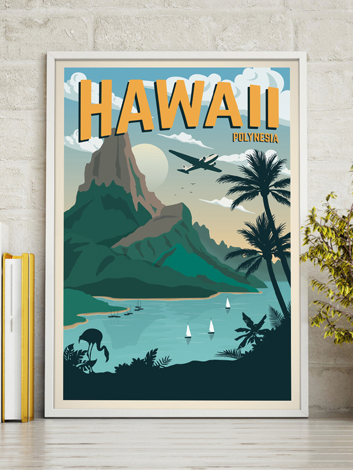 hawaii vintage travel poster polynesia art print