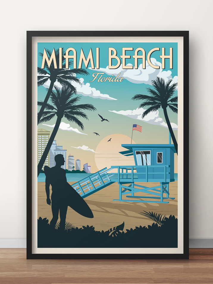miami beach vintage travel poster florida art print