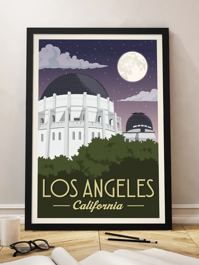 los angeles vintage travel poster griffith observatory california