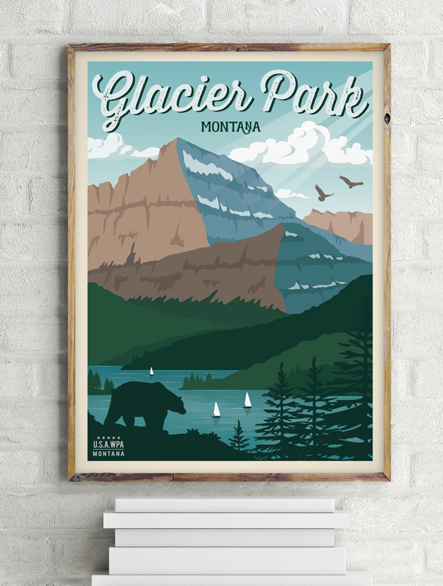 glacier national park vintage travel poster usa wall print