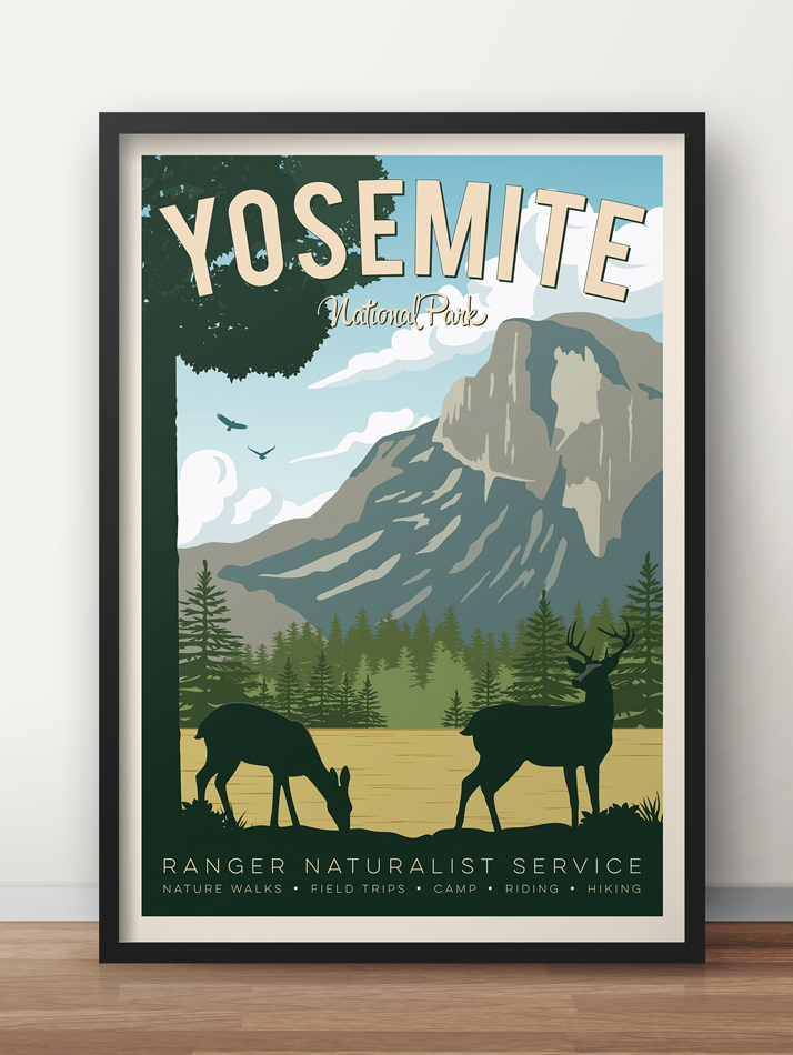 yosemite vintage travel poster usa national park print